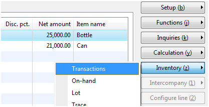 Inventory Transactions button