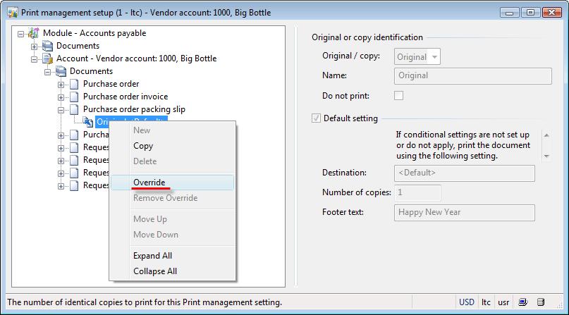 Print management setup (Vendor layer)