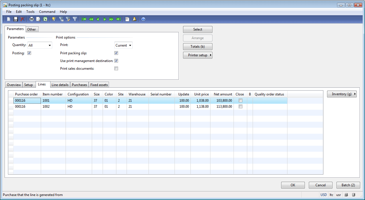Lines Tab  Packing Slip Example