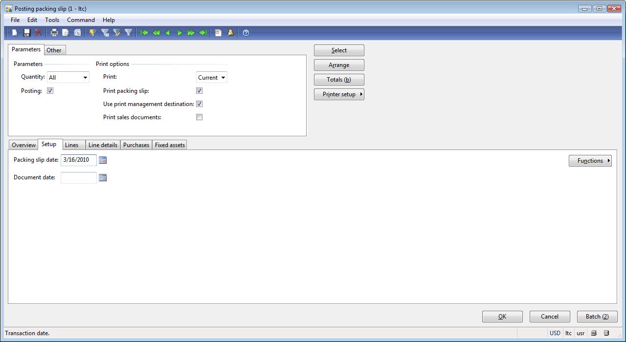 posting packing slip form setup tab dynamics ax training packing slip date field