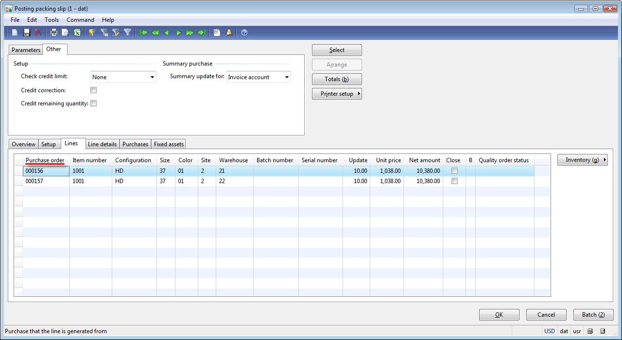 Posting packing slip form, Lines tab
