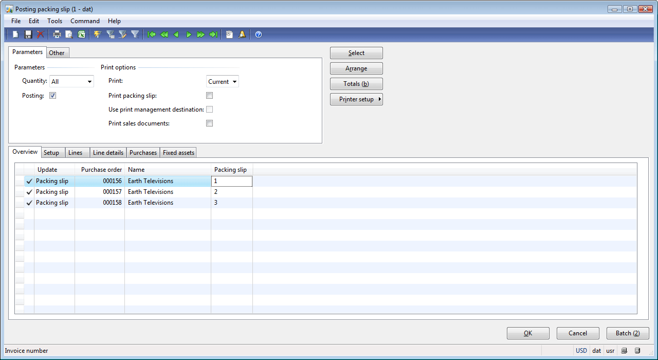Posting packing slip form Other tab – Packing Slip Form