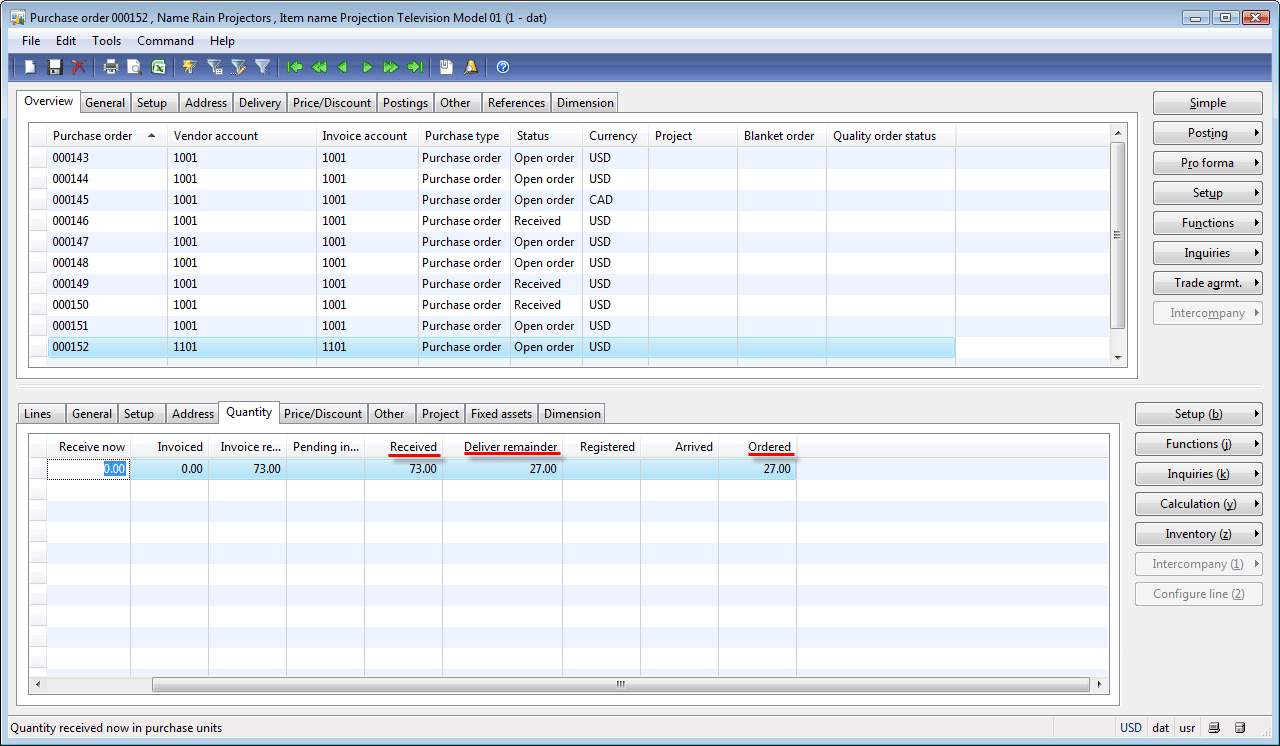 Purchase order form, Quantity tab after posting packing slip with selected=