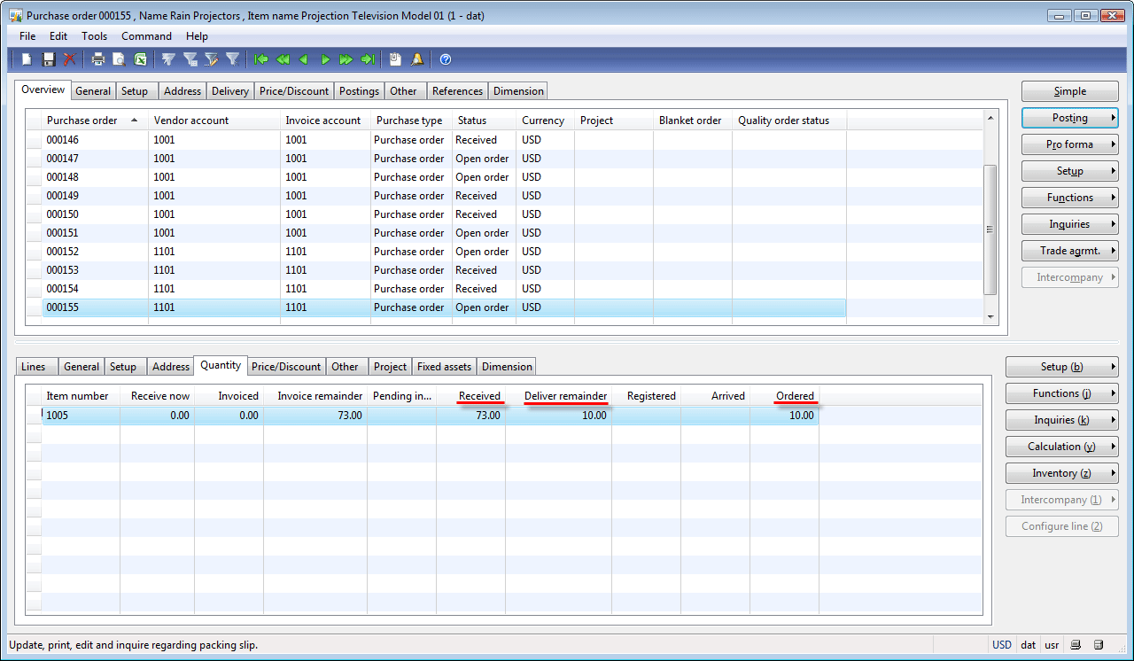 Purchase order form, Quantity tab after posting packing slip with cleared Credit remaining quantity check box