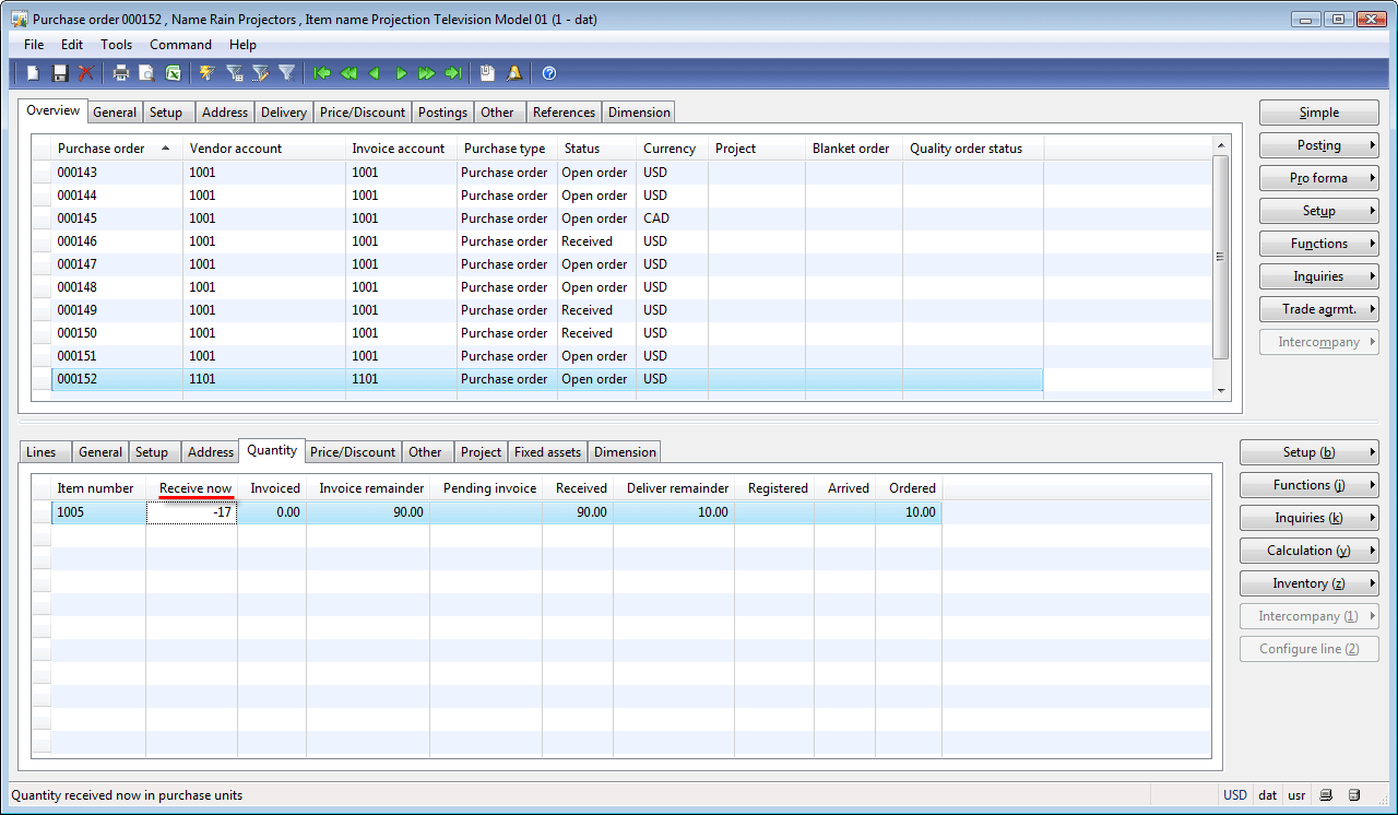 Purchase order form, Quantity tab, Receive now field