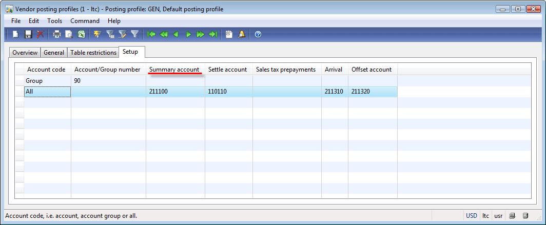 Vendor posting profiles form, Setup tab