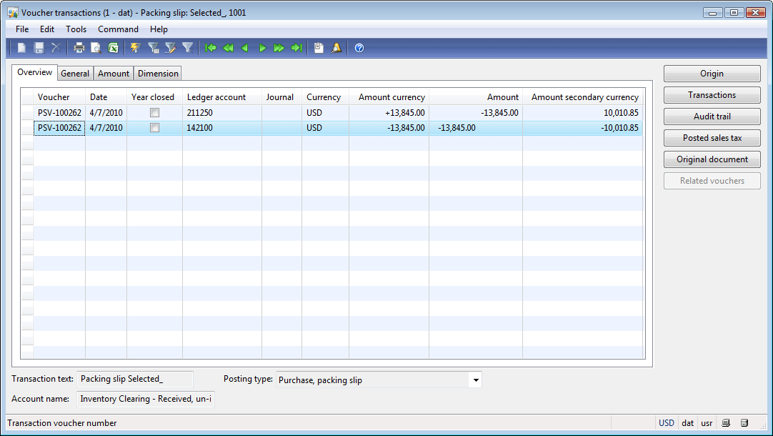 Voucher transactions form (selected Credit correction check box)