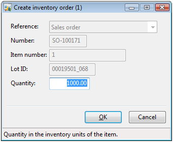 Create inventory order form