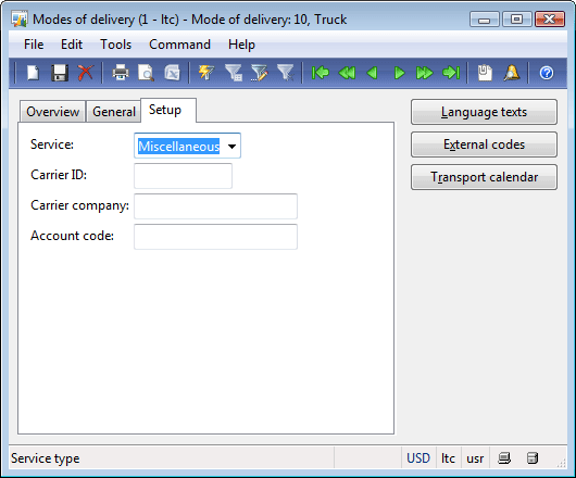 "Modes of delivery form, Setup tab. ""10"" mode of delivery."