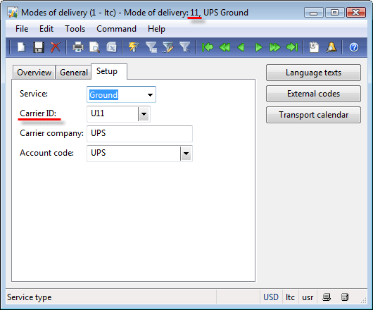 "Modes of delivery form, Setup tab. ""11"" mode of delivery."