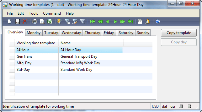 Working time templates form