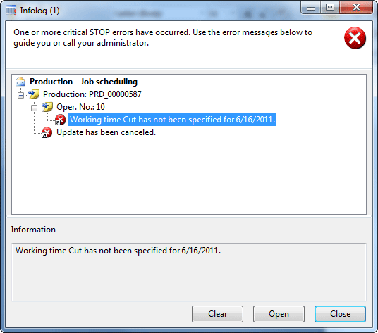 Error message: Working time Cut has not been specified