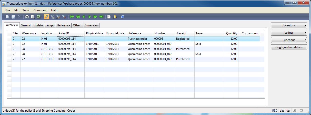 Transactions on item form