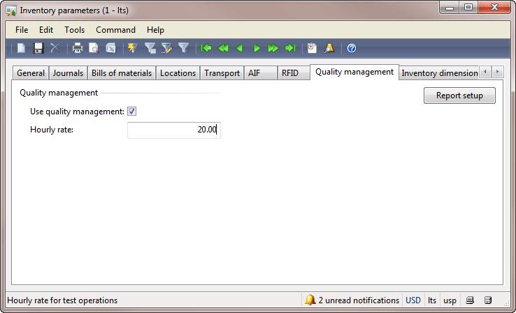 Inventory parameters