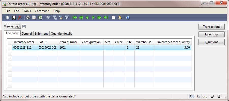 Output order form