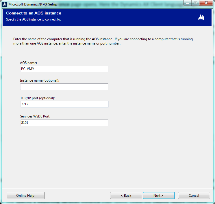 Dynamics AX Connect To AOS