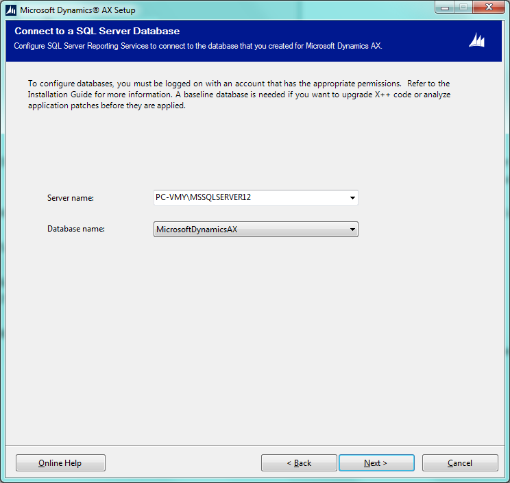 Dynamics AX Connect To SQL Server Database