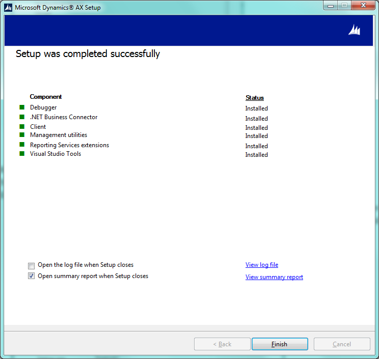 Dynamics AX Setup Was Complited