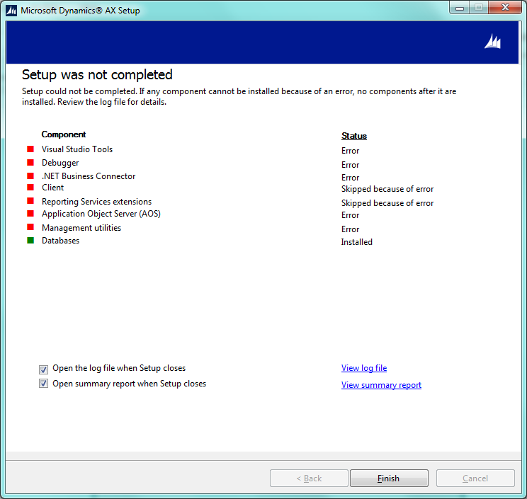 Dynamics AX Setup Was Not Completed