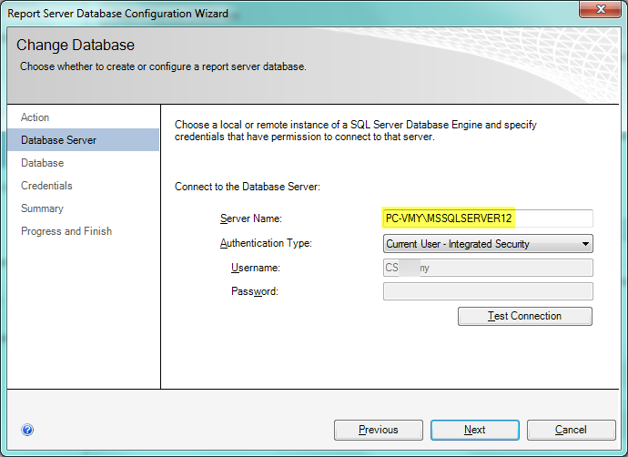 Reporting Services Configuration Manager, Test connection