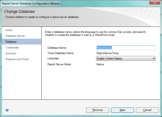 Reporting Services Configuration Manager, Database name