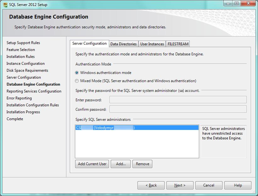 SQL Setup Database Config