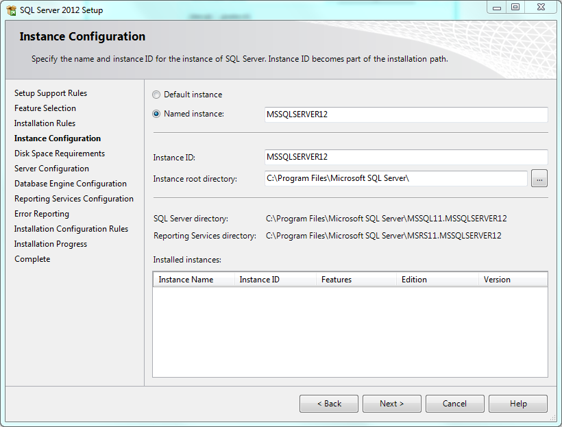 SQL Setup Instance Configuration
