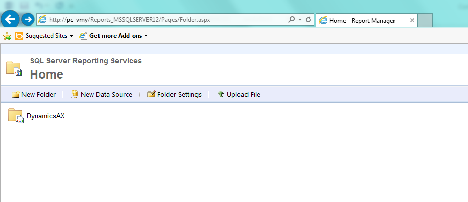 SSRS Home Page, DynamicsAX folder
