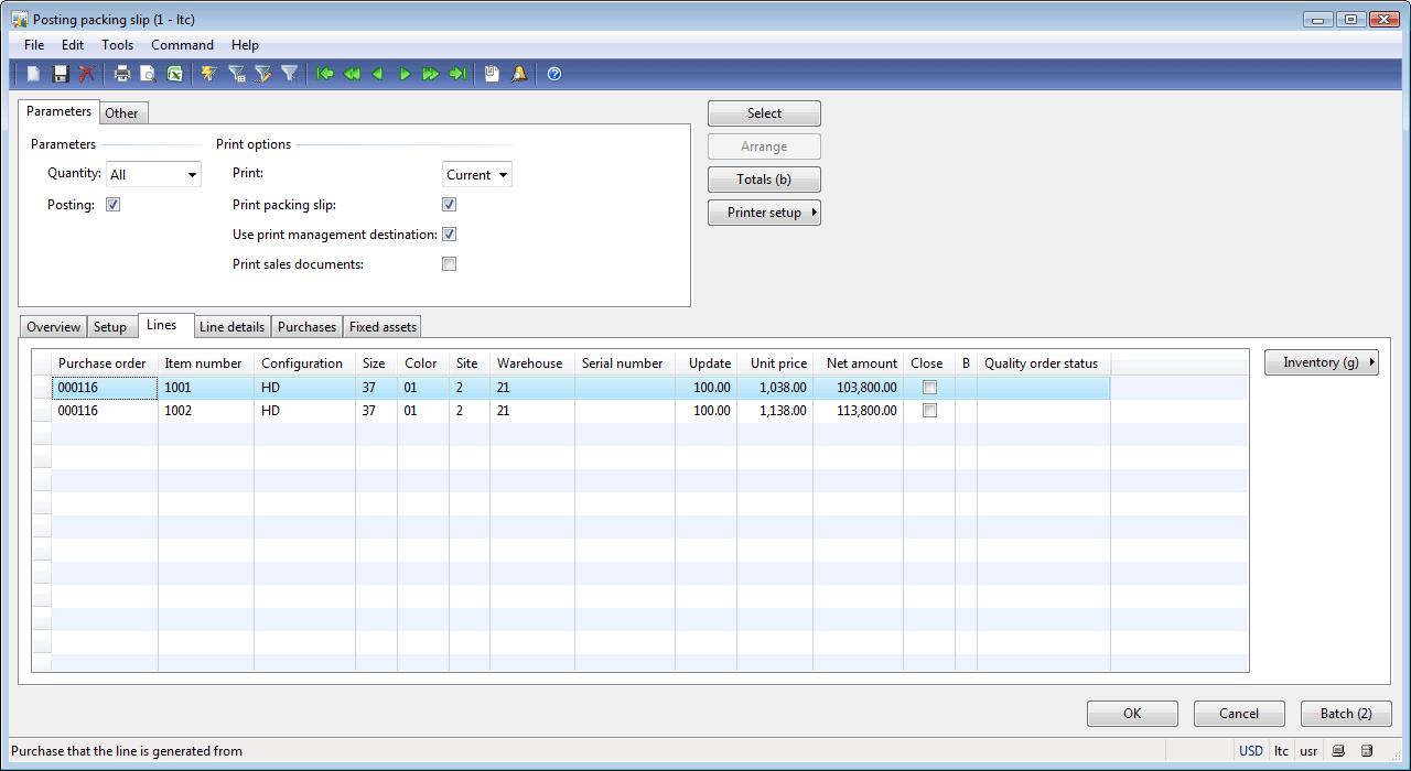posting packing slip form lines tab dynamics ax training