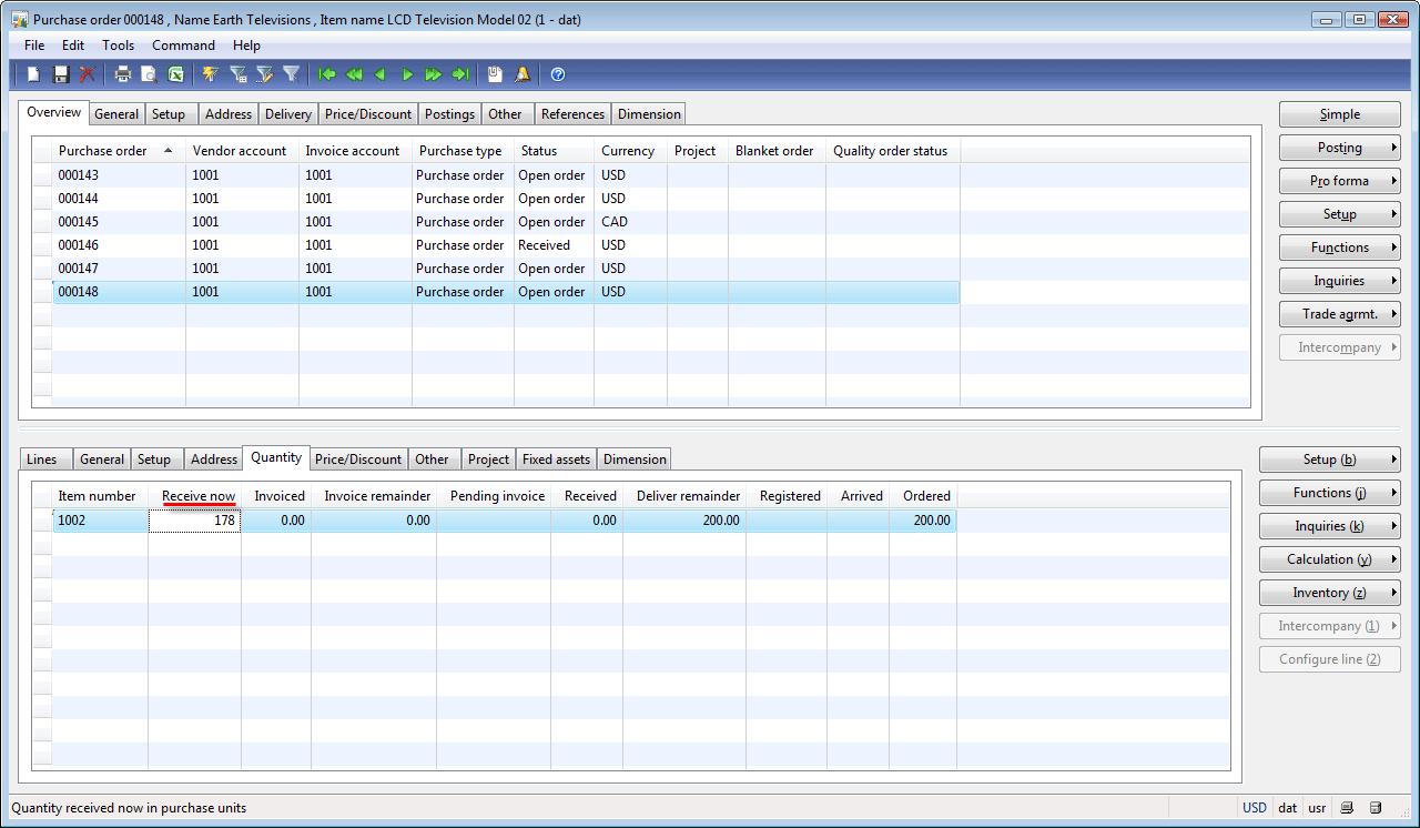 posting packing slip form  parameters tab