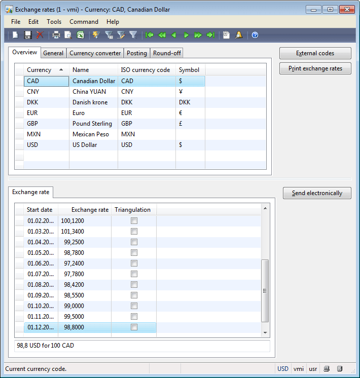currency setup in dynamics ax 2009